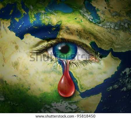 Violence in the middle east as a map of Egypt Syria Iran Israel Saudi Arabia Libya Yemen Iraq as a crying eye and a red tear of blood as a symbol of the brutality and tragic victims of war. - stock photo