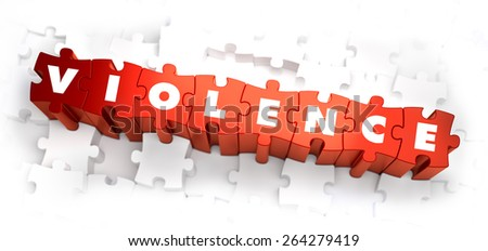 Violence - Text on Red Puzzles on White Background. Selective Focus. 3D Render. - stock photo