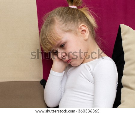 Violence to children - little blond girl is crying  - stock photo