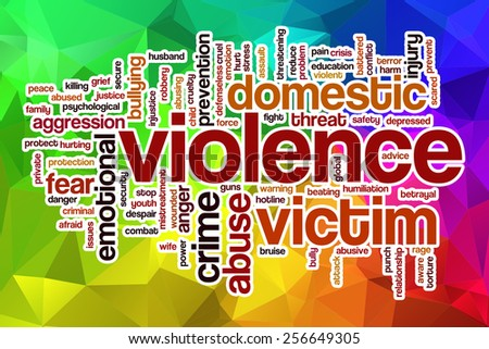 Violence word cloud concept with abstract background - stock photo