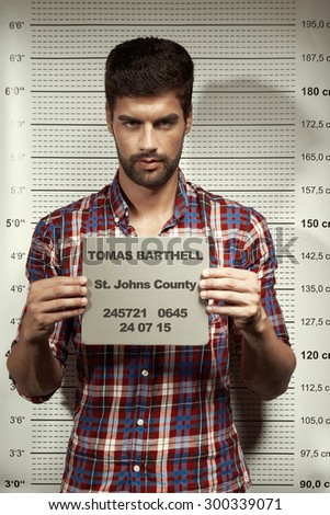 Violent criminal jail mugshot - stock photo