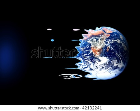 Violent death of earth by black hole - stock photo