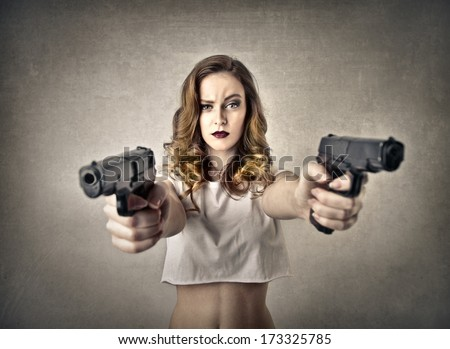 violent girl - stock photo