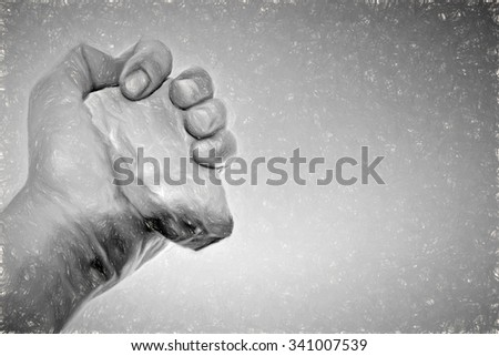 violent hand - illustration based on own photo image - stock photo