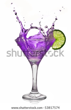 Violet alcohol cocktail with splash and green lime isolated on white - stock photo