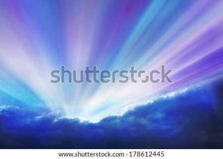 Violet and Cyan Rays, Abstract Cloudy Sky with Colorful Sun Rays - stock photo