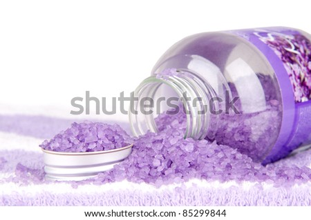 Violet bath salt on white background