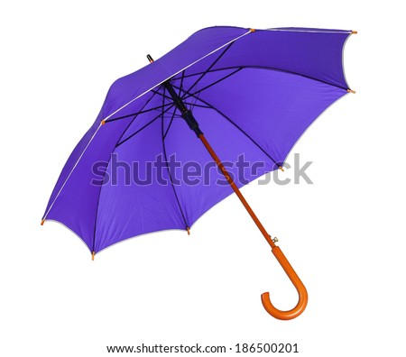 Violet blue umbrella / studio photo of opened umbrella - isolated on white background  - stock photo