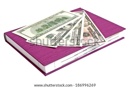 Violet book and money isolated on a white background - stock photo