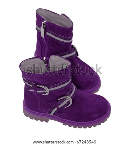 violet boots - stock photo