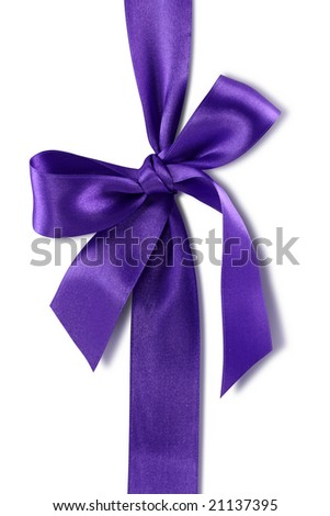 Violet bow isolated on white background - stock photo