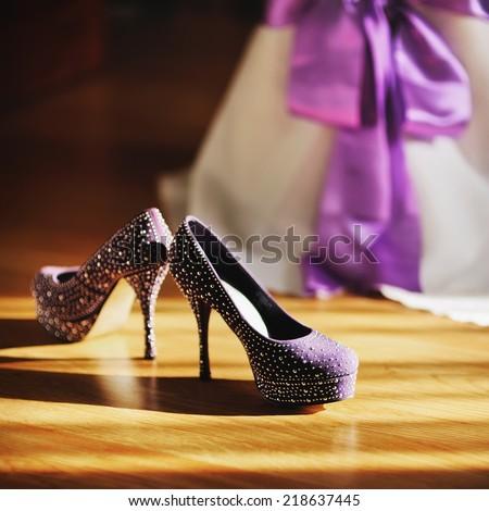Violet bridal shoes.  - stock photo