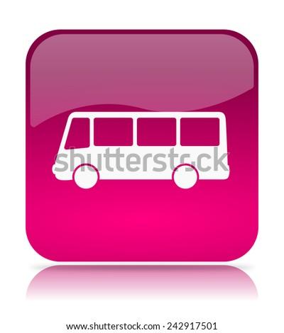 Violet Bus App Icon Illustration on White Background - stock photo