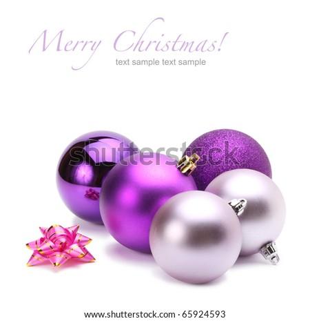 violet christmas balls - stock photo