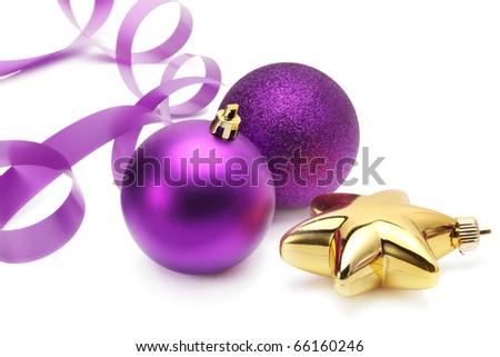 violet christmas balls and ribbon - stock photo