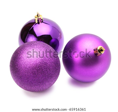 violet christmas balls isolated
