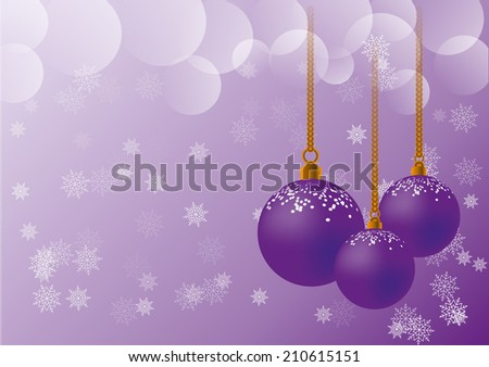 Violet christmas balls with snow flakes and shiny rings