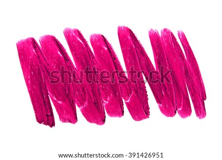 Violet color lipstick stroke on white background - stock photo