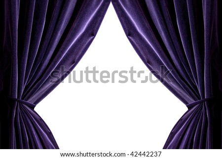 violet curtains isolated on white - stock photo