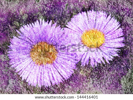 violet daisy - stylized floral picture with patina texture - stock photo