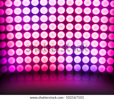 Violet Dance Disco Lights Stage Background - stock photo