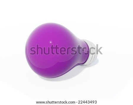 Violet electric light bulb isolated on white
