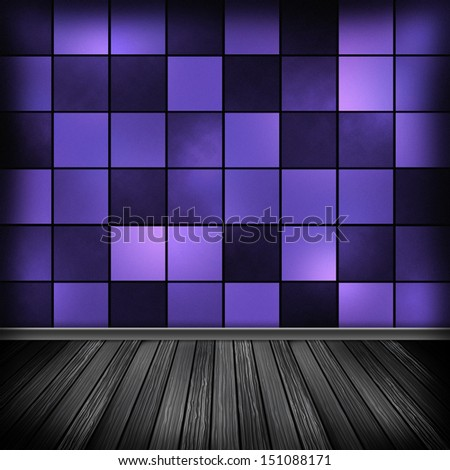 Violet empty room, interior with wallpaper. High resolution texture background.