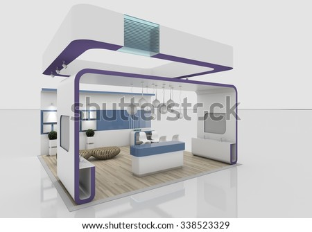 violet exhibition stand 3D Rendering - stock photo