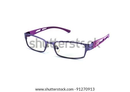 violet eyeglasses isolated on white background - stock photo