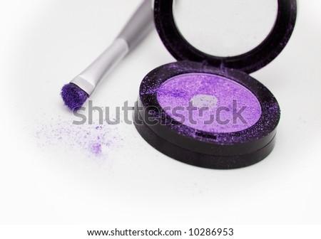violet eyeshadow on white - stock photo
