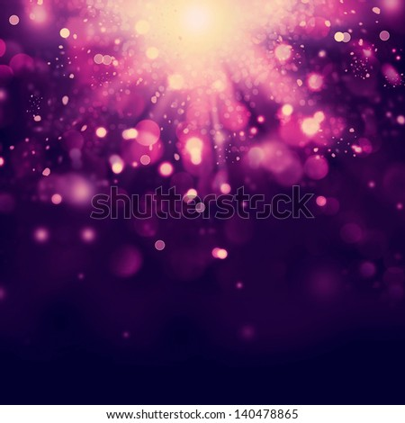 Violet Festive Christmas background. Purple Abstract Backdrop with Lights and Stars. Bokeh - stock photo