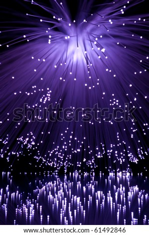 Violet fibre optic strands. - stock photo