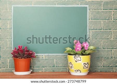 Violet flowers in flowerpots on wood stillage - stock photo