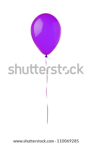 Violet flying balloon isolated on white background - stock photo
