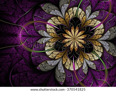 Violet fractal flower, digital artwork for creative graphic design