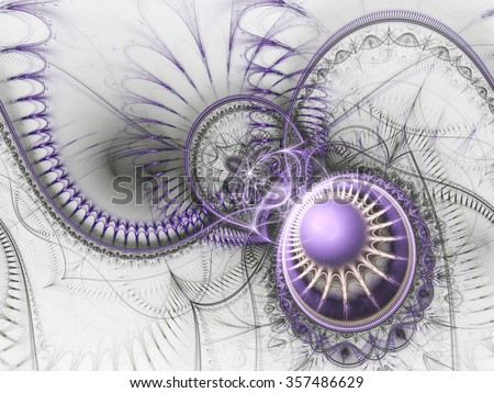 Violet fractal machine, digital artwork for creative graphic design