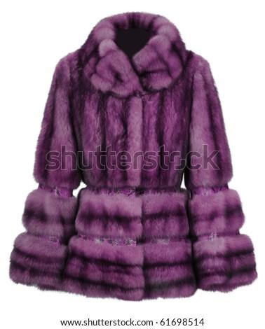 violet fur coat - stock photo