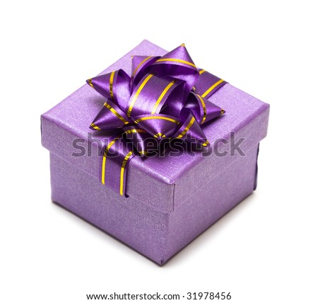 violet gift box isolated on white background - stock photo