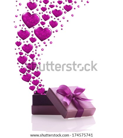 violet gift box out of him flying many violet heart on white background - stock photo