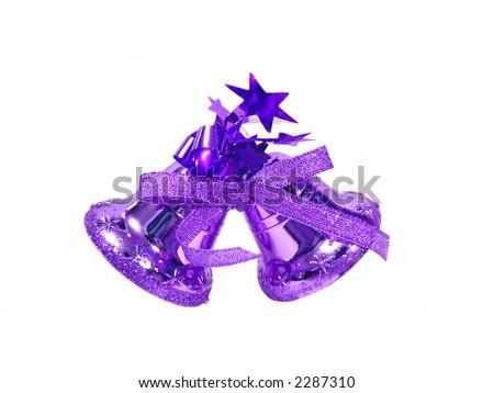 Violet Golden Christmas handbell on white background - stock photo