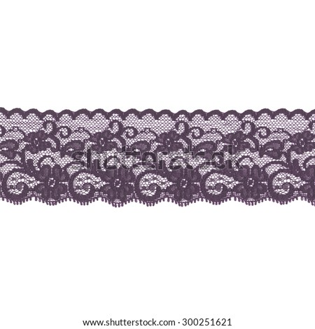 Violet lace ribbon isolated over a white background