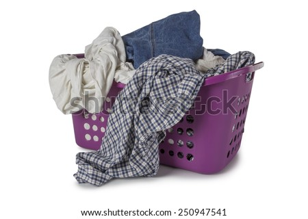 Violet Laundry Basket filled with clothes isolated on white background - stock photo