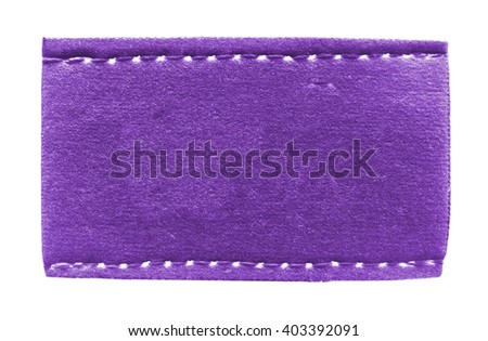 violet leather  blank label on white. Place for Your text