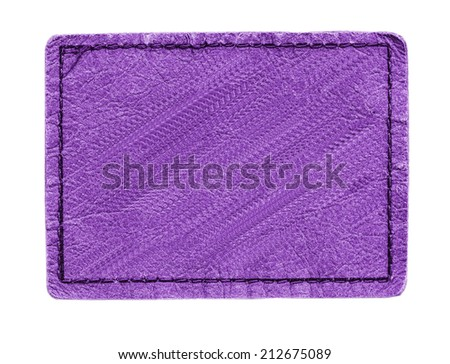 violet leather label on white background   - stock photo