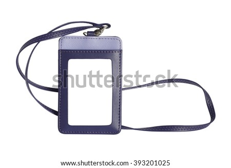violet leather name badge with blank space, isolated on white background with clipping path - stock photo