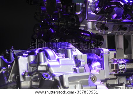 Violet light irradiation Auto engine of close-up