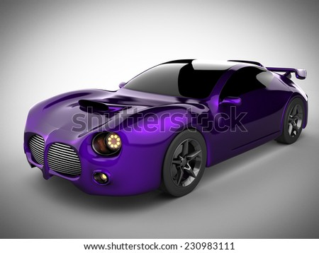 violet luxury brandless sport car on white background - stock photo