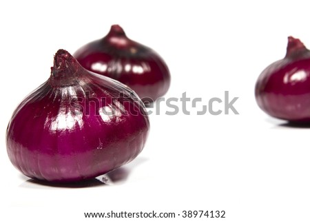 Violet onion on white background