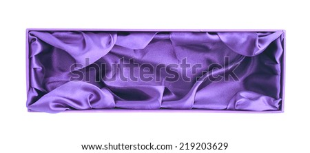 Violet opened tall gift box with the velvet cloth inside, isolated over the white background - stock photo