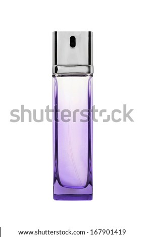 Violet or purple transparent glass perfume bottles isolated on white
